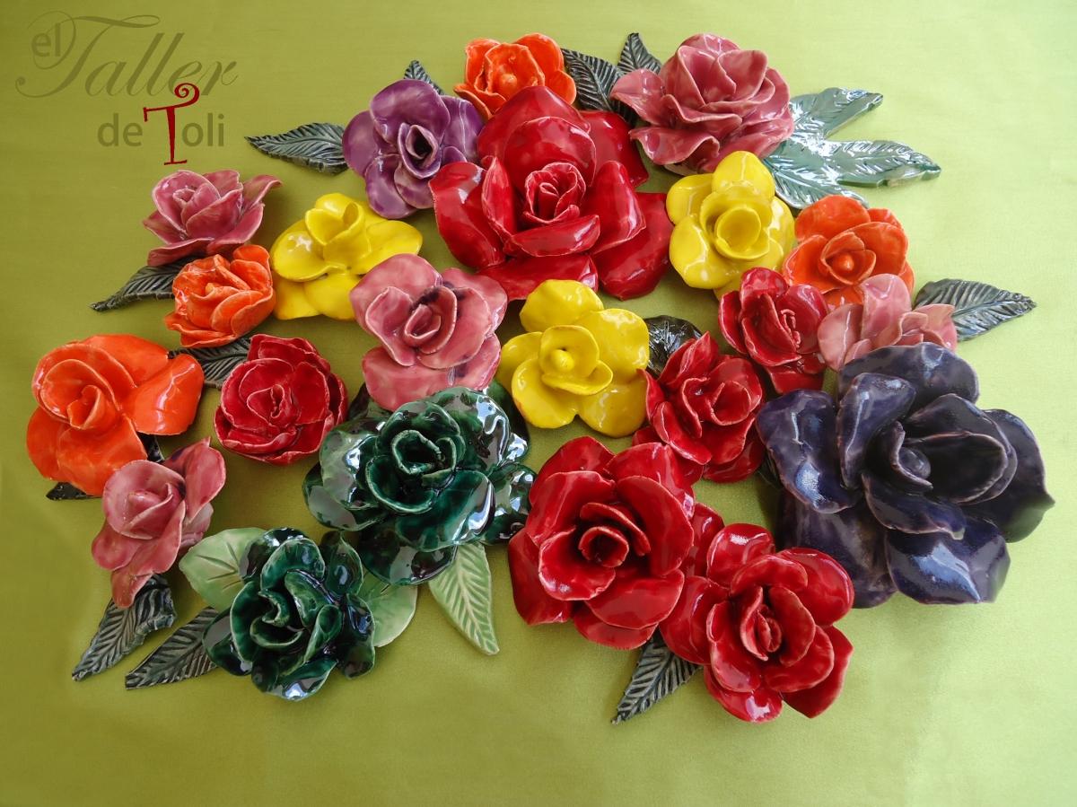 rosas en ceramica para decoracion