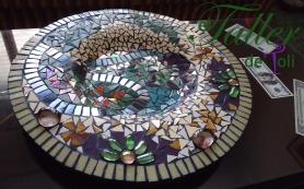 centro mesa bandeja plato mosaiquismo salta azulejos venecitas vidrio gemas
